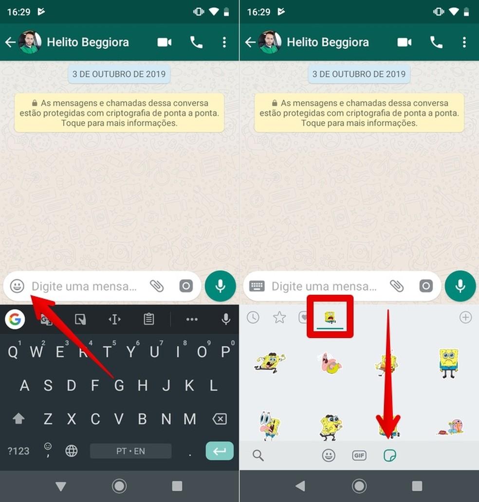 Sending SpongeBob stickers on WhatsApp with Stickers Yellow Marine Boy Photo: Reproduction / Helito Beggiora