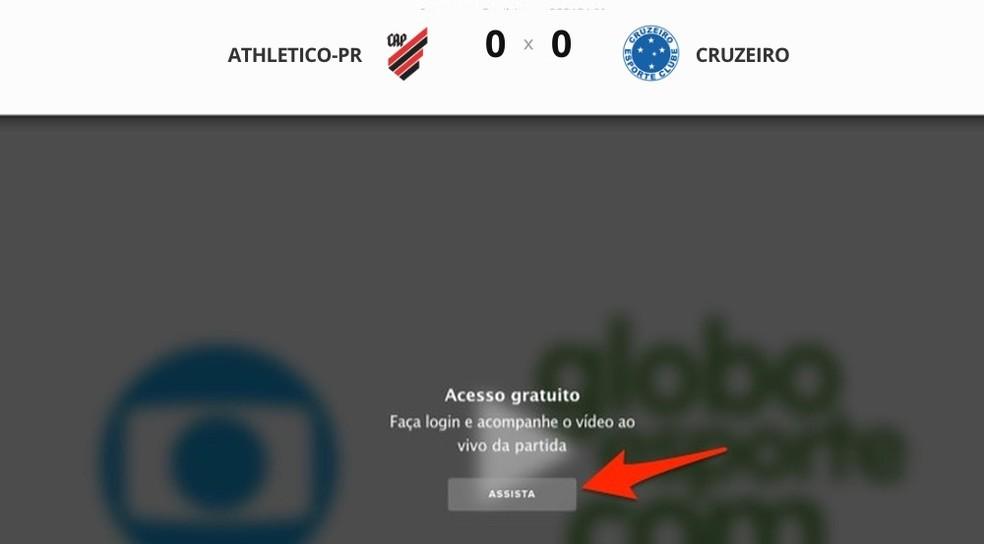 Login screen to watch the match between Athletico-PR and Cruzeiro on the Globo Esporte website Photo: Reproduo / Marvin Costa