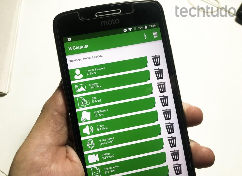 WCleaner for WA deletes downloaded WhatsApp files Photo: Playback / Rodrigo Fernandes