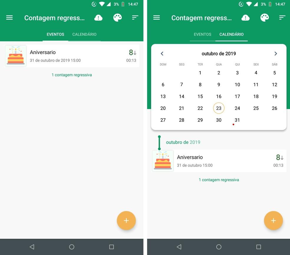Countdown app Days counter has calendar of events Photo: Reproduction / Rodrigo Fernandes