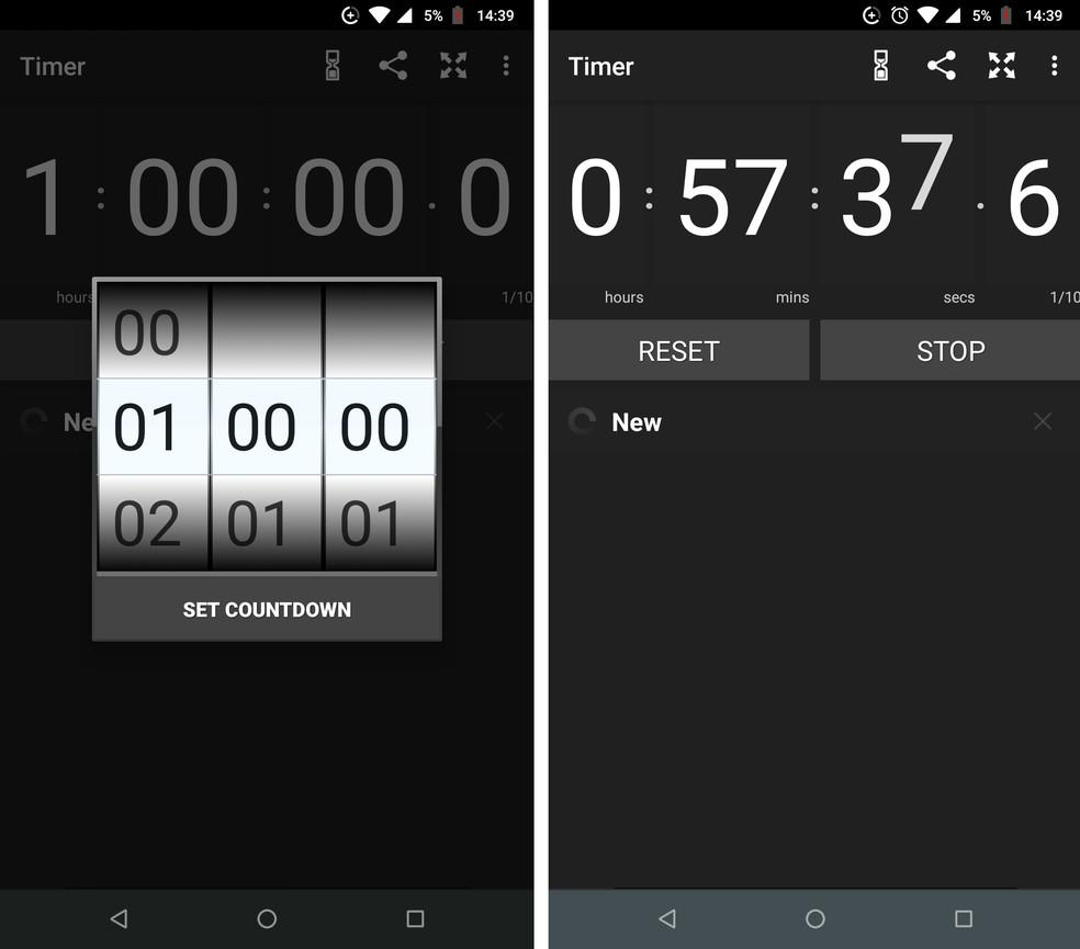 Stopwatch & Timer works vertically and horizontally Photo: Reproduo / Rodrigo Fernandes