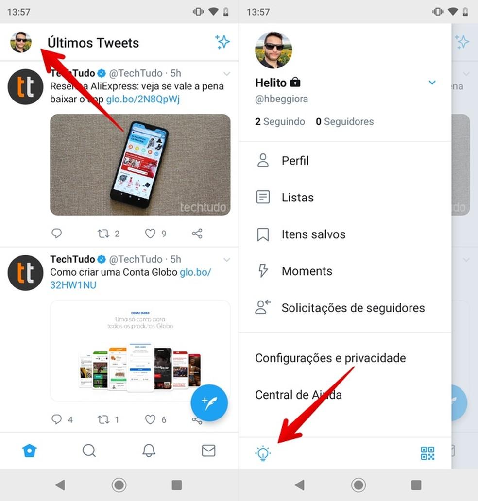 Turning on Twitter's dark mode Photo: Reproduction / Helito Beggiora