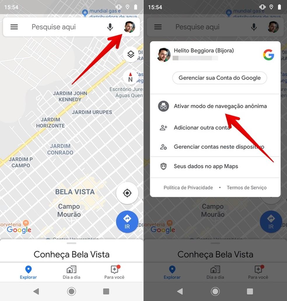 Enabling Google Maps incognito mode Photo: Playback / Helito Beggiora