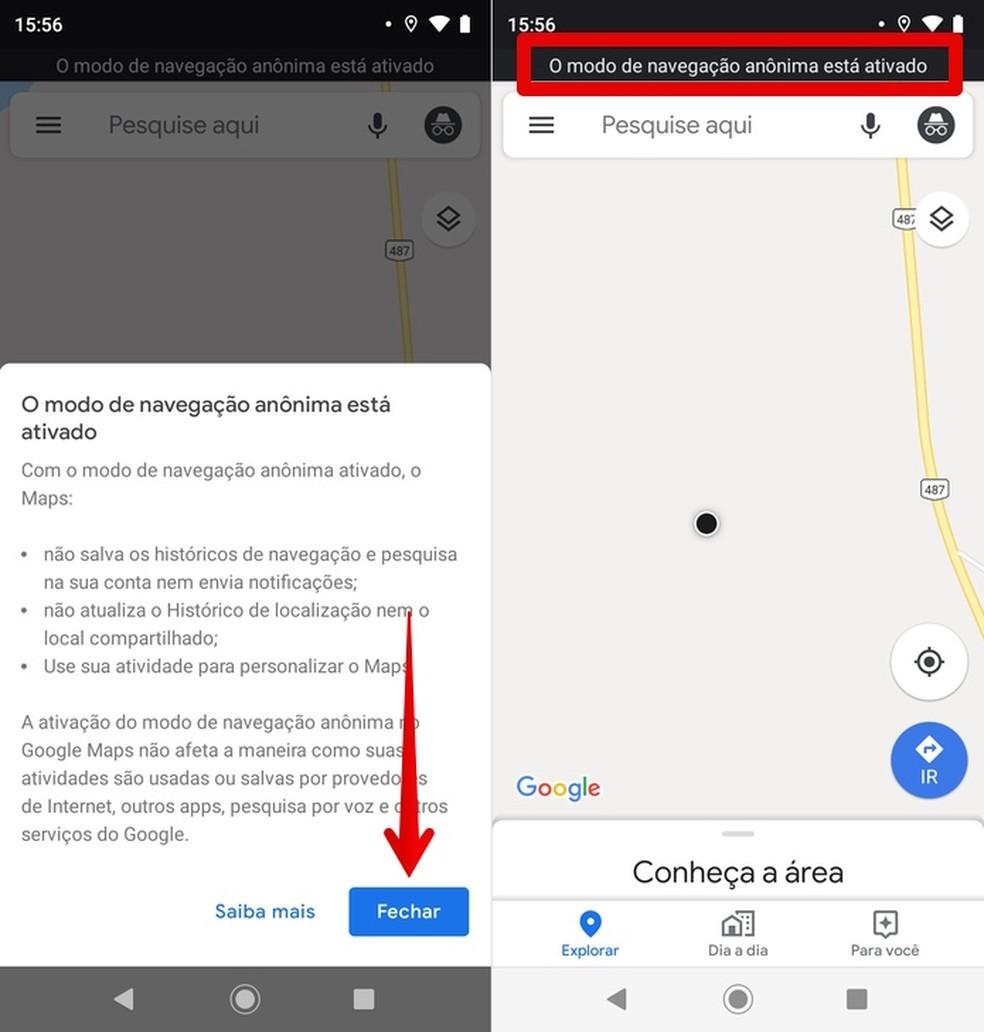 Google Maps incognito mode on mobile Photo: Playback / Helito Beggiora