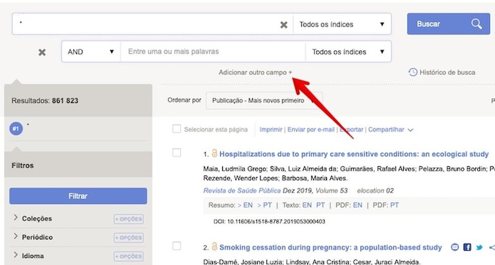 Adding new search fields Photo: Reproduction / Helito Beggiora