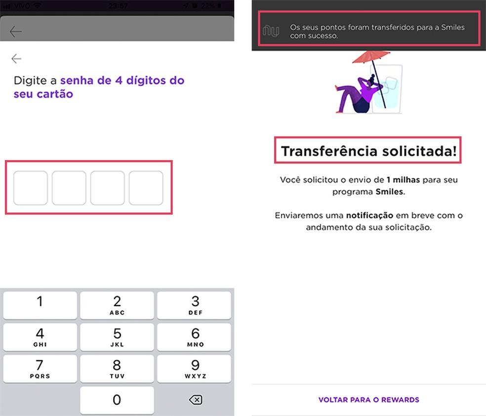 Enter password to confirm transfer of Rewards points to Smiles miles in Nubank app Photo: Playback / Barbara Mannara