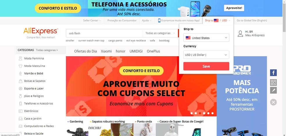 AliExpress interface in Portuguese Photo: Reproduo / Pedro Cardoso