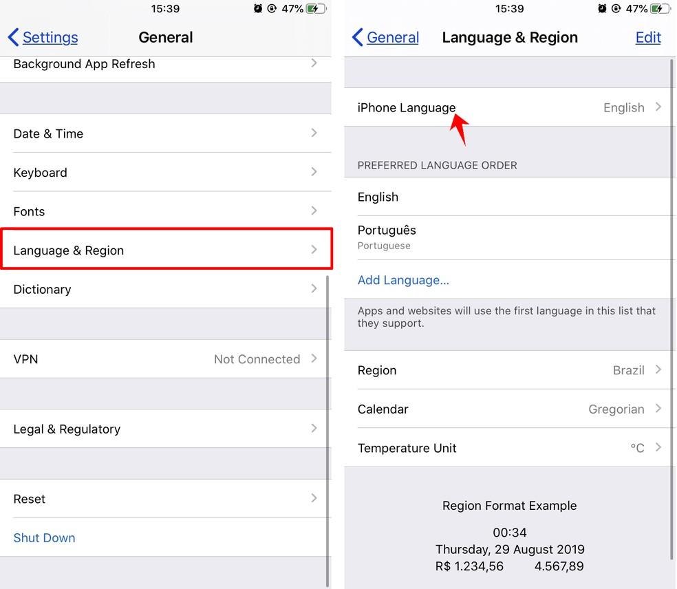 Adding Portugus as a new iPhone language Photo: Reproduo / Rodrigo Fernandes