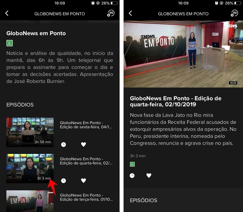 GloboNews Play app shows list with old news programs Photo: Reproduction / Rodrigo Fernandes