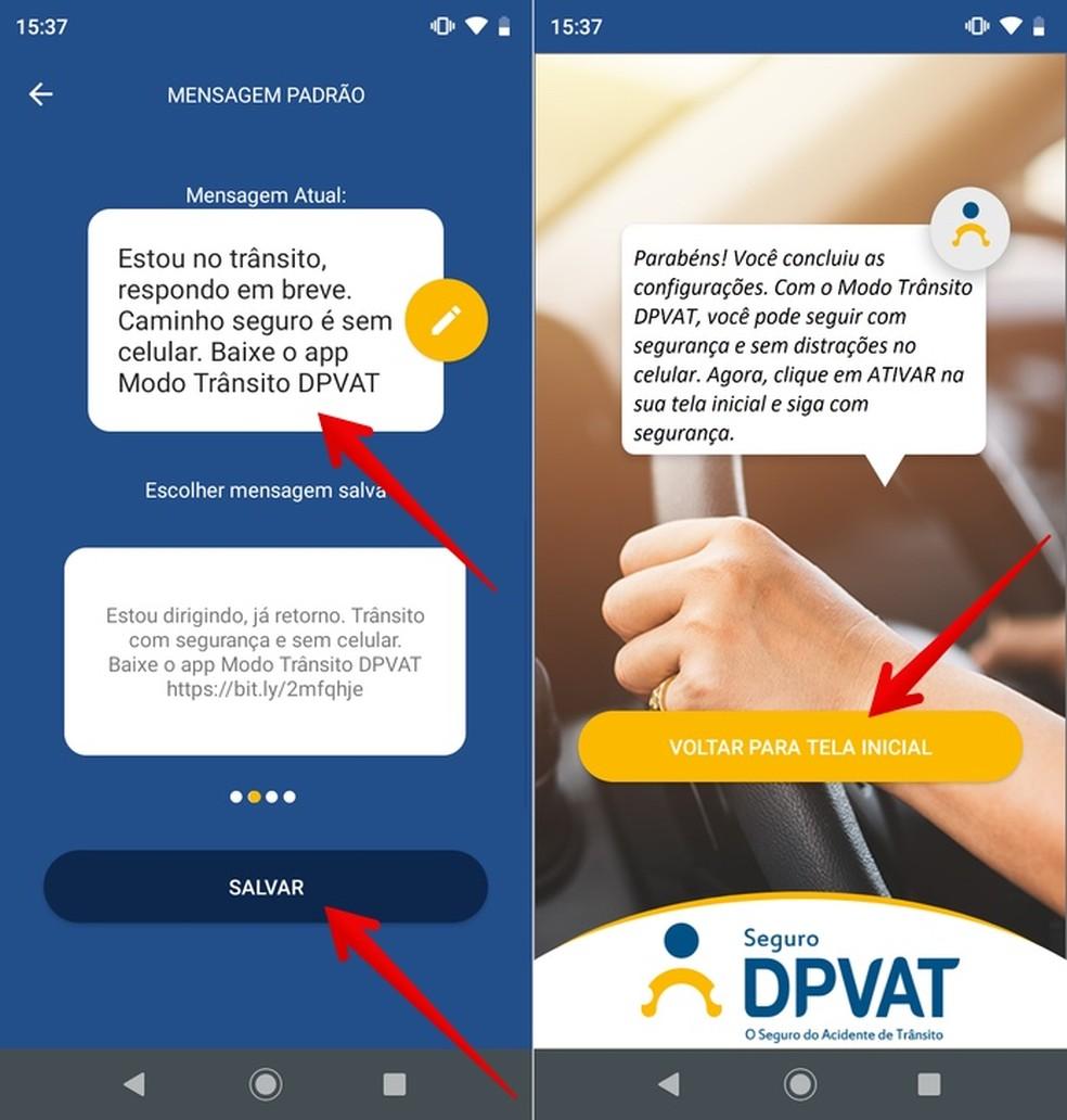 Configuring DPVAT Traffic Mode Automatic Response Photo: Playback / Helito Beggiora