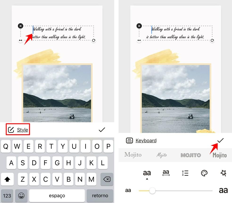 User can add texts to Mojito Photo: Reproduction / Rodrigo Fernandes