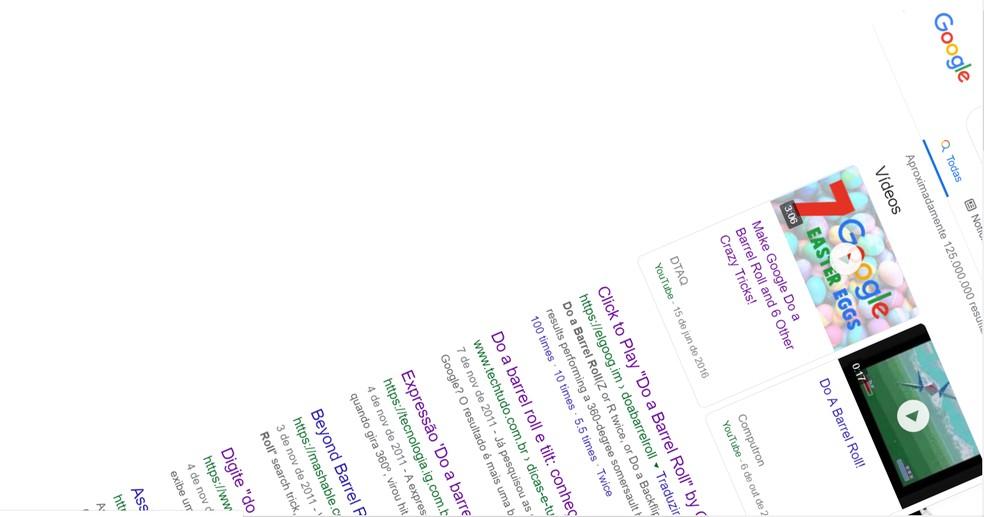 """Do a barrel roll"" joke spins Google 360 ??results page Photo: Playback / Google"
