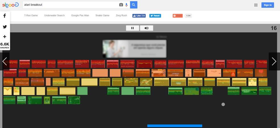 "Play Atari's ""Breakout"" game on Google Photo: Playback / Google"