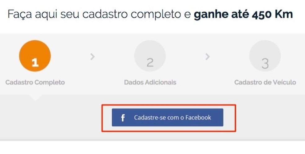 Registration option using Facebook data on the Km de Peros Ipiranga service website Photo: Reproduo / Marvin Costa