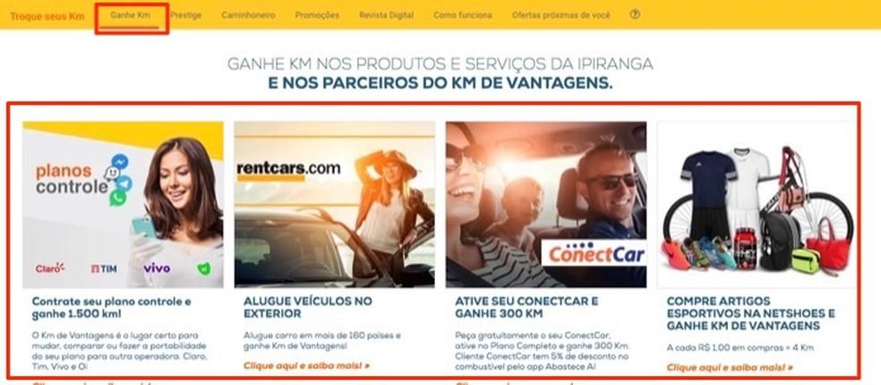 Partner page to earn points on the service website Km de Posos Ipiranga Advantages Photo: Reproduo / Marvin Costa