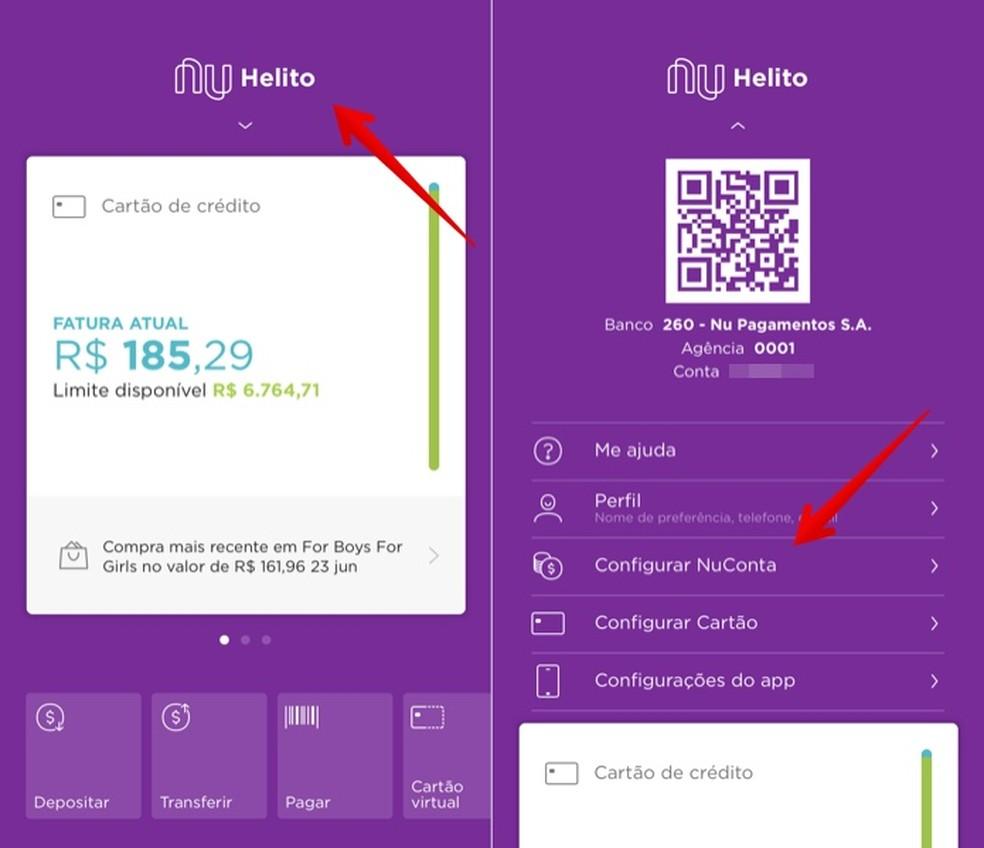 Access NuConta settings to initiate cancellation Photo: Play / Helito Beggiora