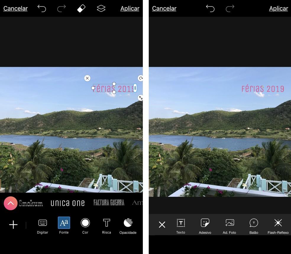 Picsart has different sources for photo writing Photo: Reproduo / Rodrigo Fernandes