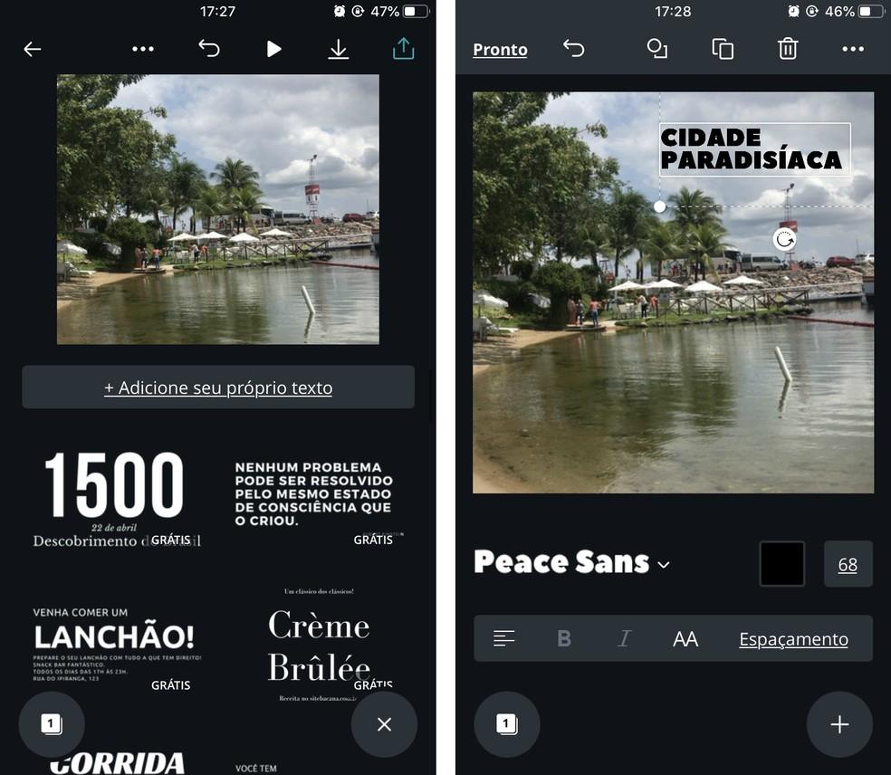 Canva has ready and creative text templates for writing on photos. Photo: Reproduo / Rodrigo Fernandes