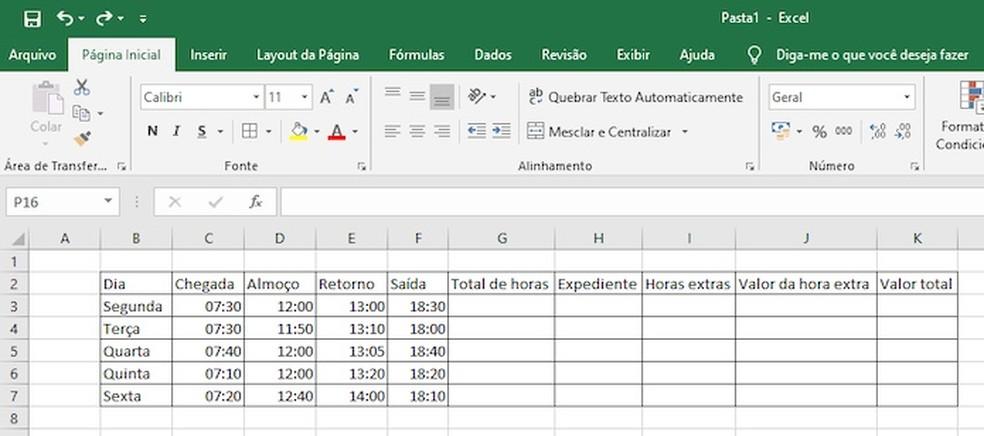 Example overtime control spreadsheet Photo: Reproduction / Helito Beggiora