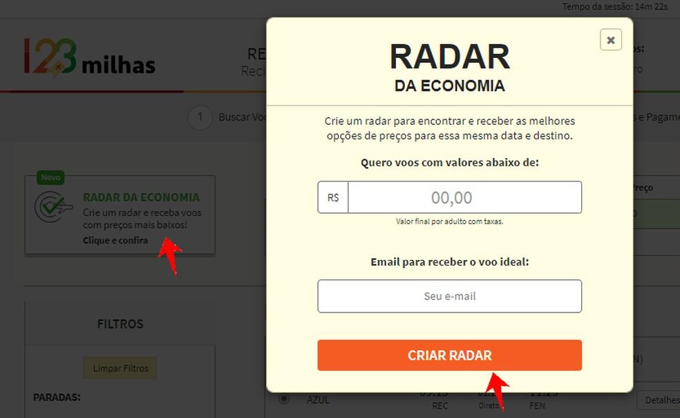 Create a 123 Miles Economy Radar to Receive Low Price Alerts Photo: Reproduction / Rodrigo Fernandes