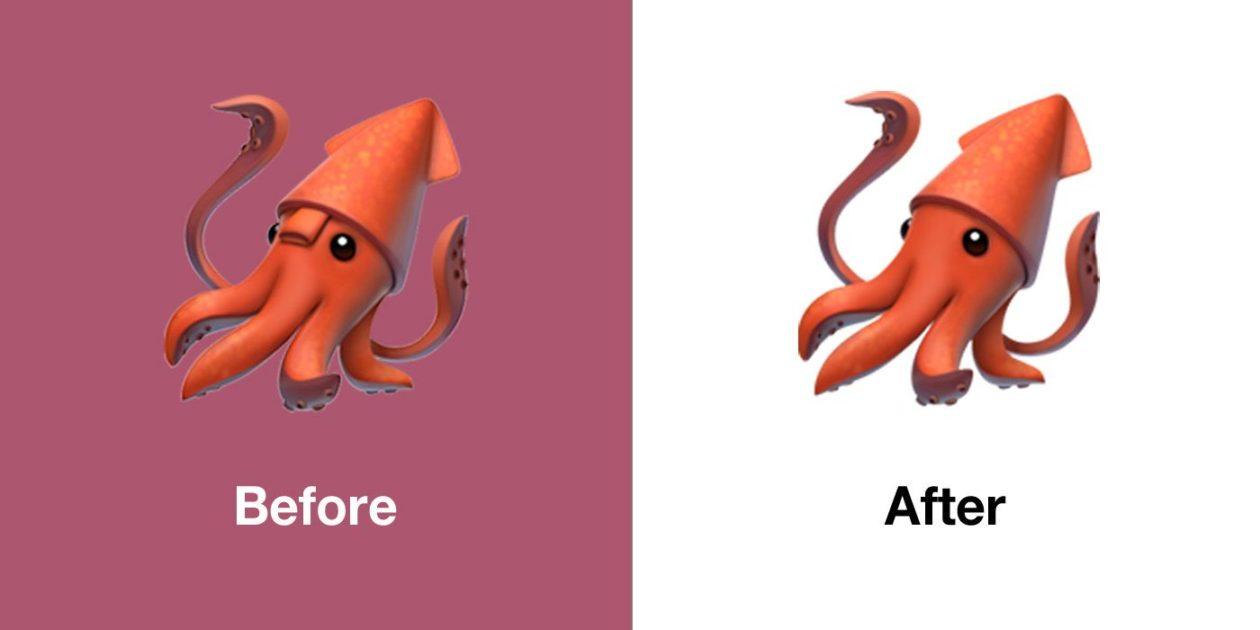 New squid emoji on iOS 13.1