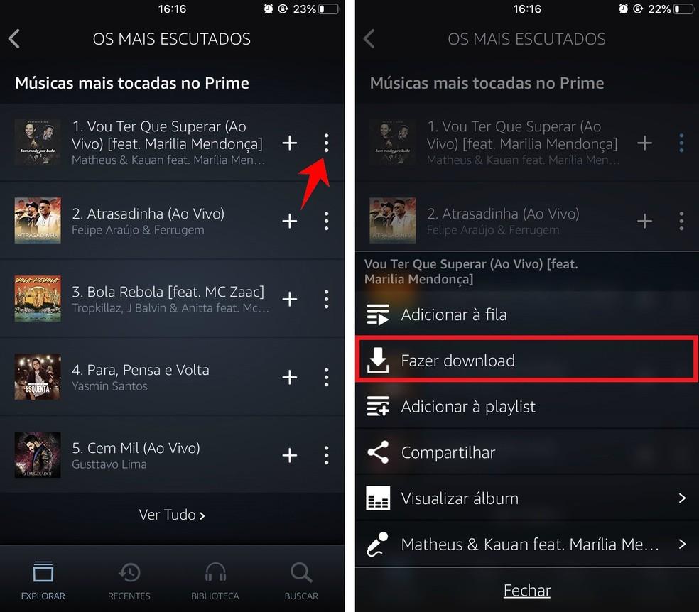 Downloading a song to listen offline on Amazon Prime Music Photo: Playback / Rodrigo Fernandes