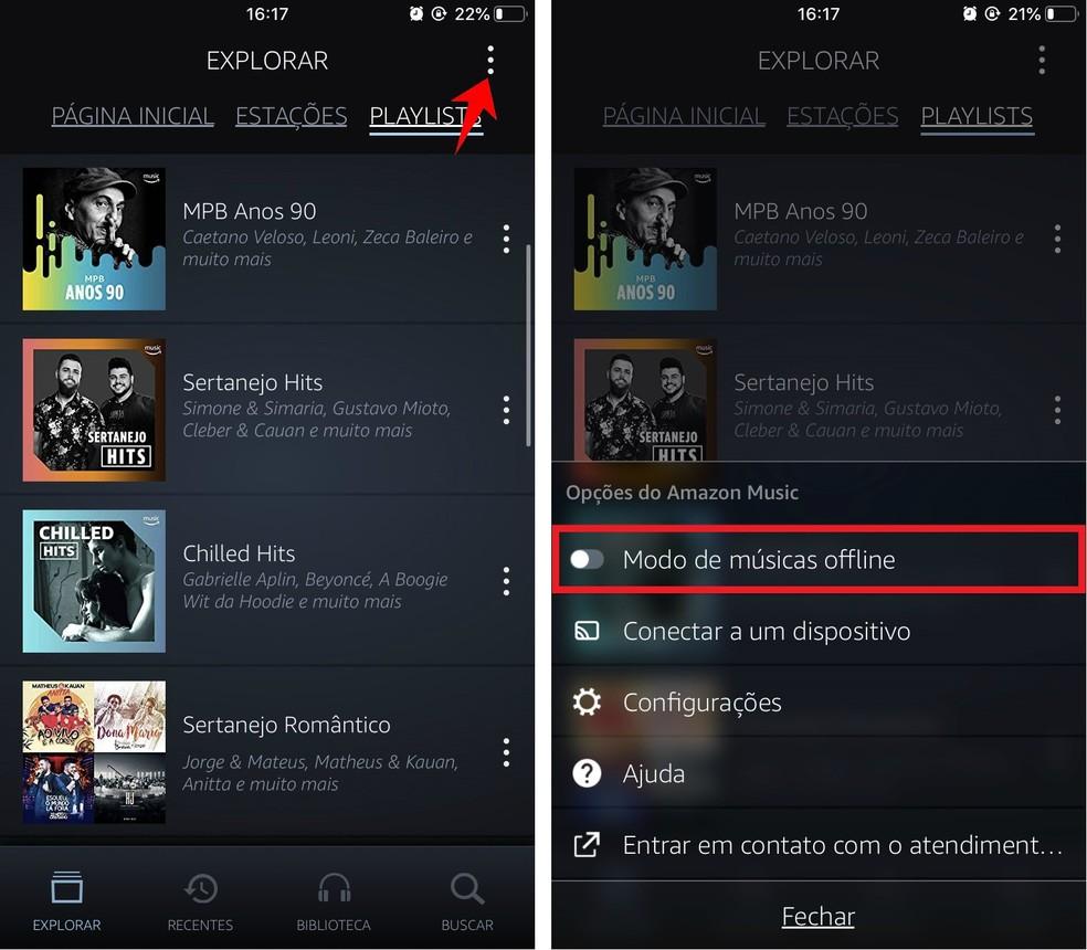 Enable Offline Music Mode to see tracks downloaded on Prime Music Photo: Playback / Rodrigo Fernandes