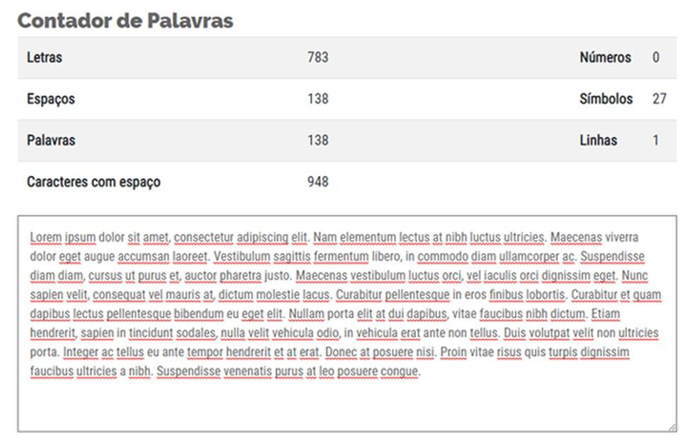 Cia Websites platform offers a character calculator Photo: Reproduction / Gabrielle Ferreira