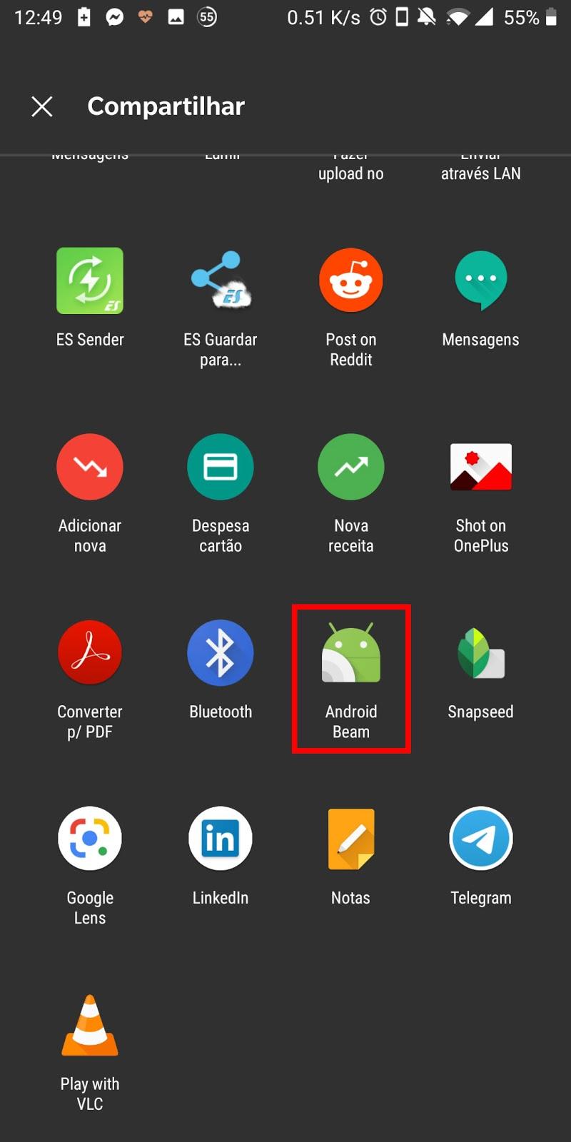 android sharing menu