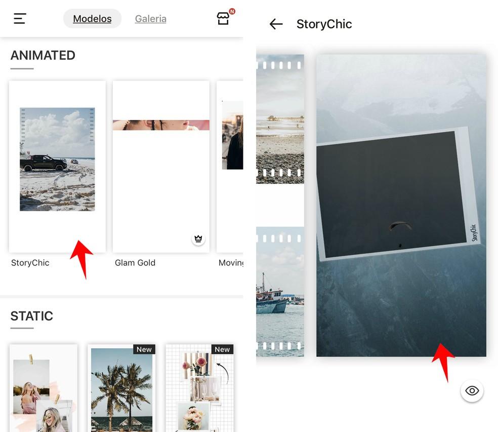 StoryChic has several templates ready to customize Photo: Reproduction / Rodrigo Fernandes