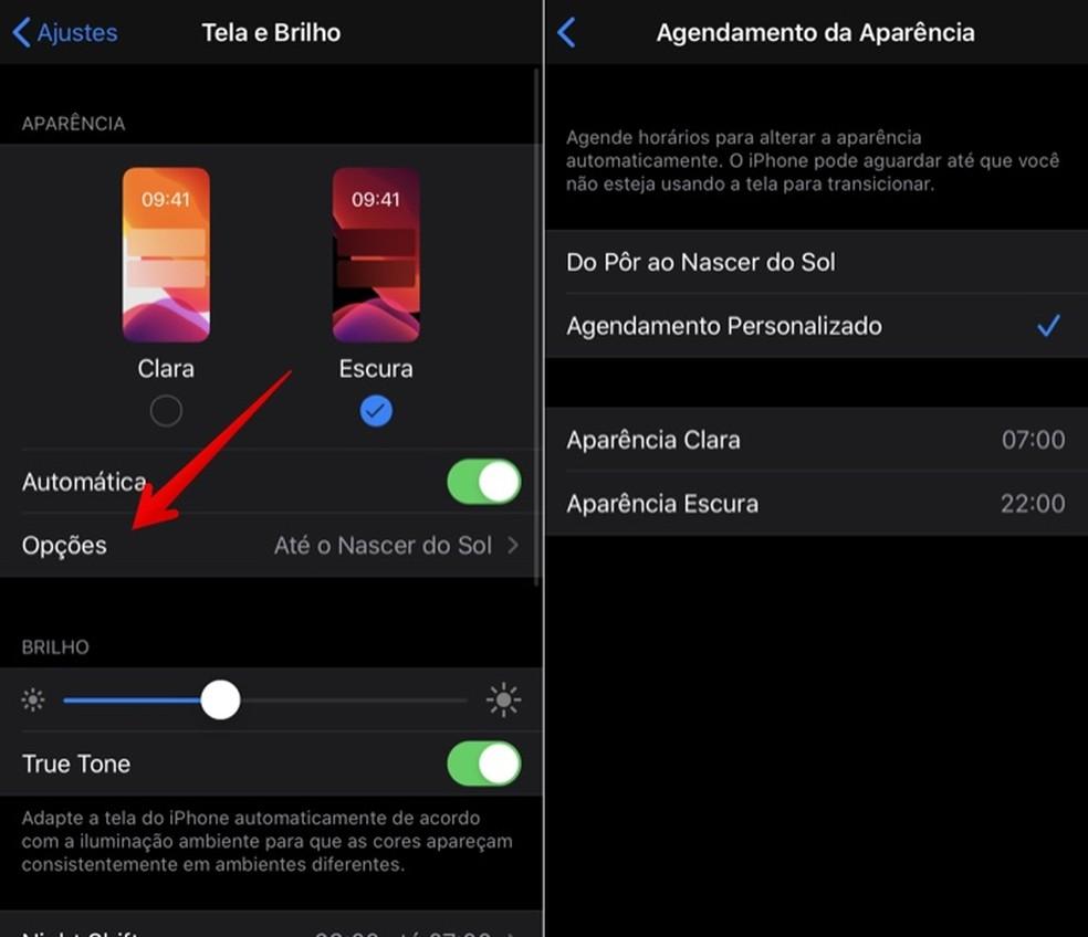 Setting up iOS 13 dark mode scheduling Photo: Playback / Helito Beggiora