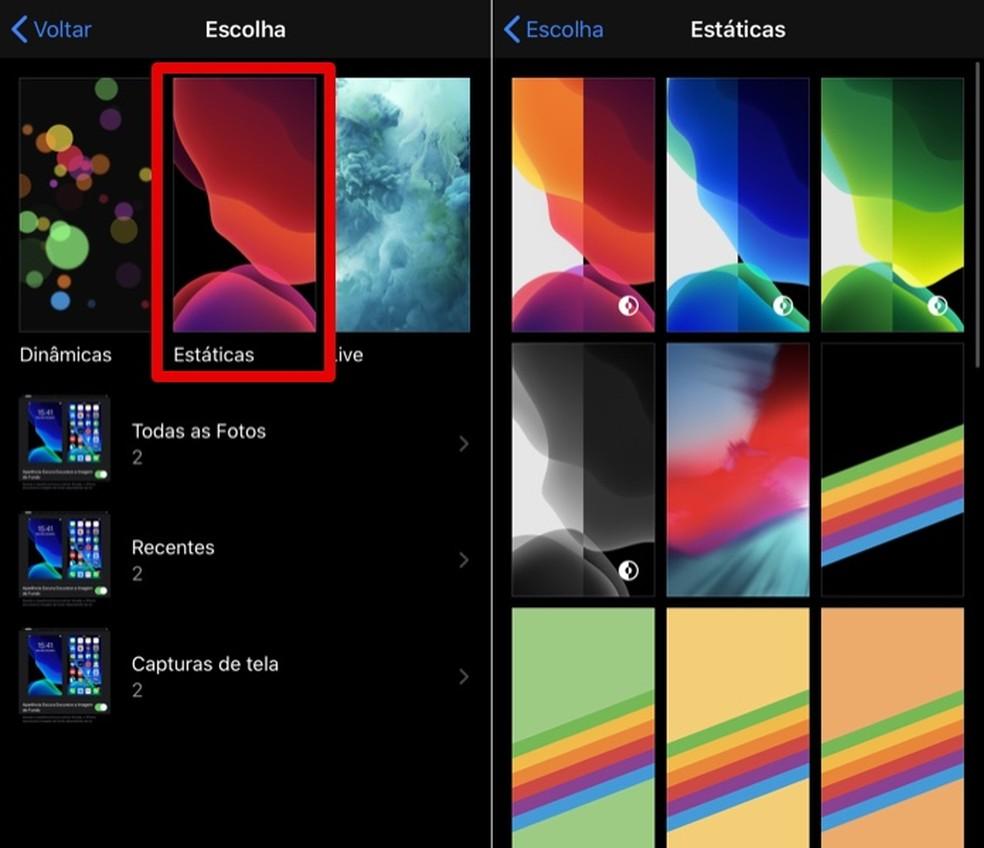 Select a live wallpaper on iOS 13 Photo: Playback / Helito Beggiora