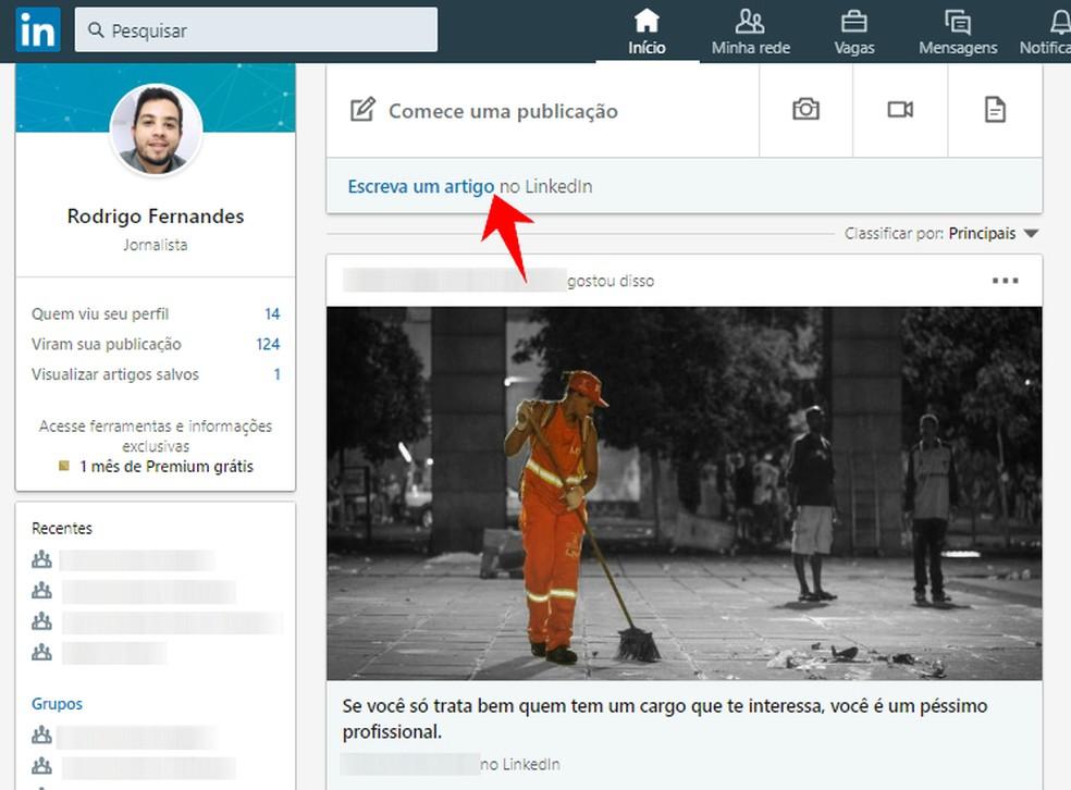 Creating a new article on LinkedIn Photo: Reproduo / Rodrigo Fernandes