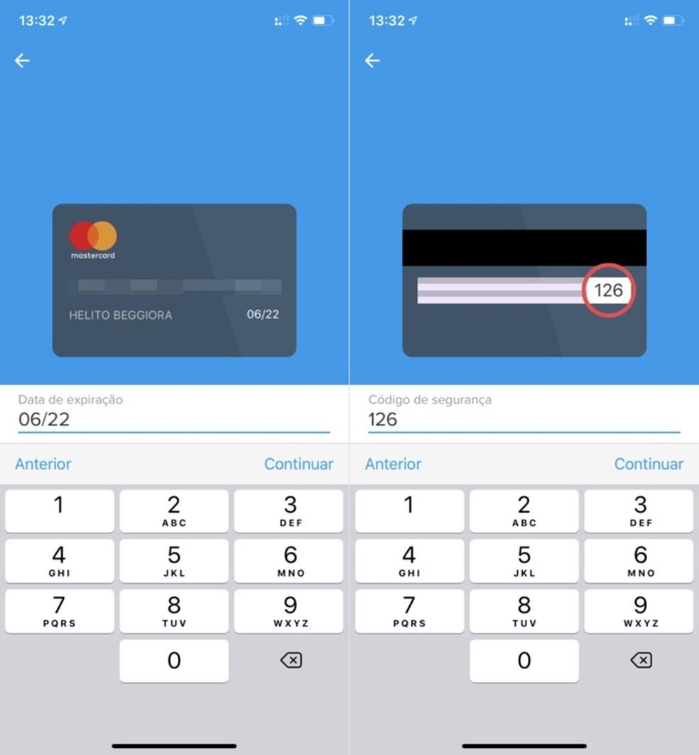 Enter the card details in the Mercado Pago app Photo: Reproduction / Helito Beggiora