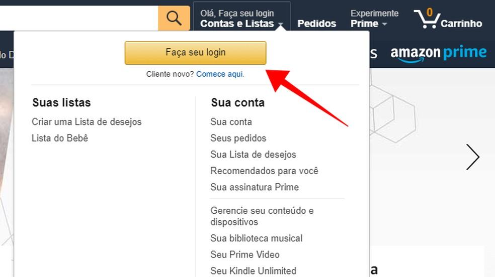 Log in to Amazon Photo: Reproduo / Paulo Alves