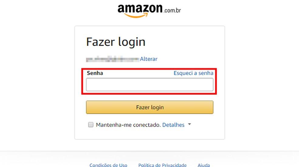 Enter Amazon password Photo: Reproduo / Paulo Alves