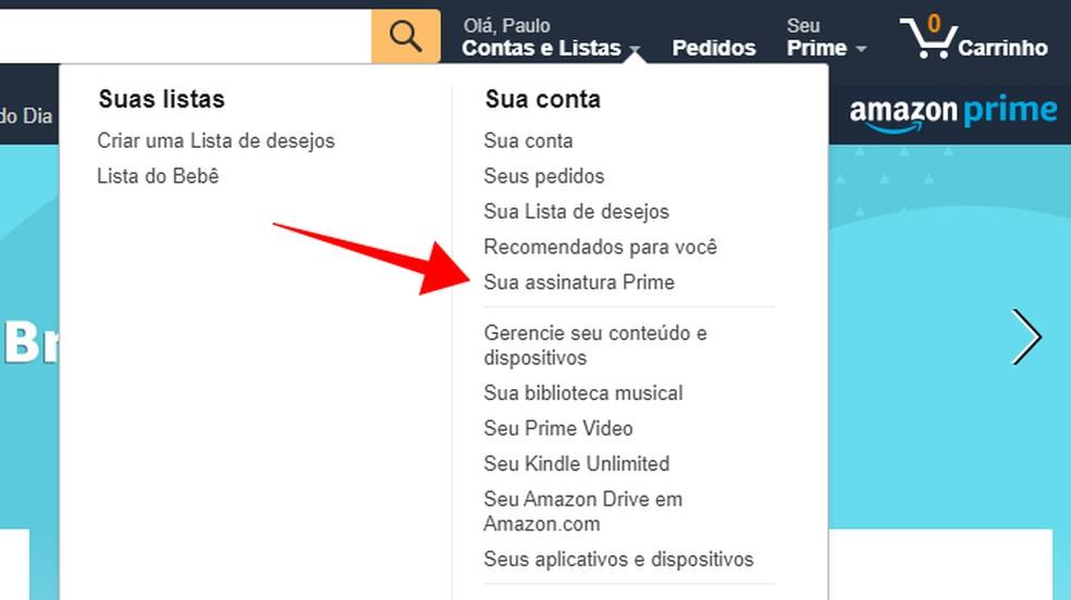 Access the settings of Amazon Prime Photo: Reproduction / Paulo Alves