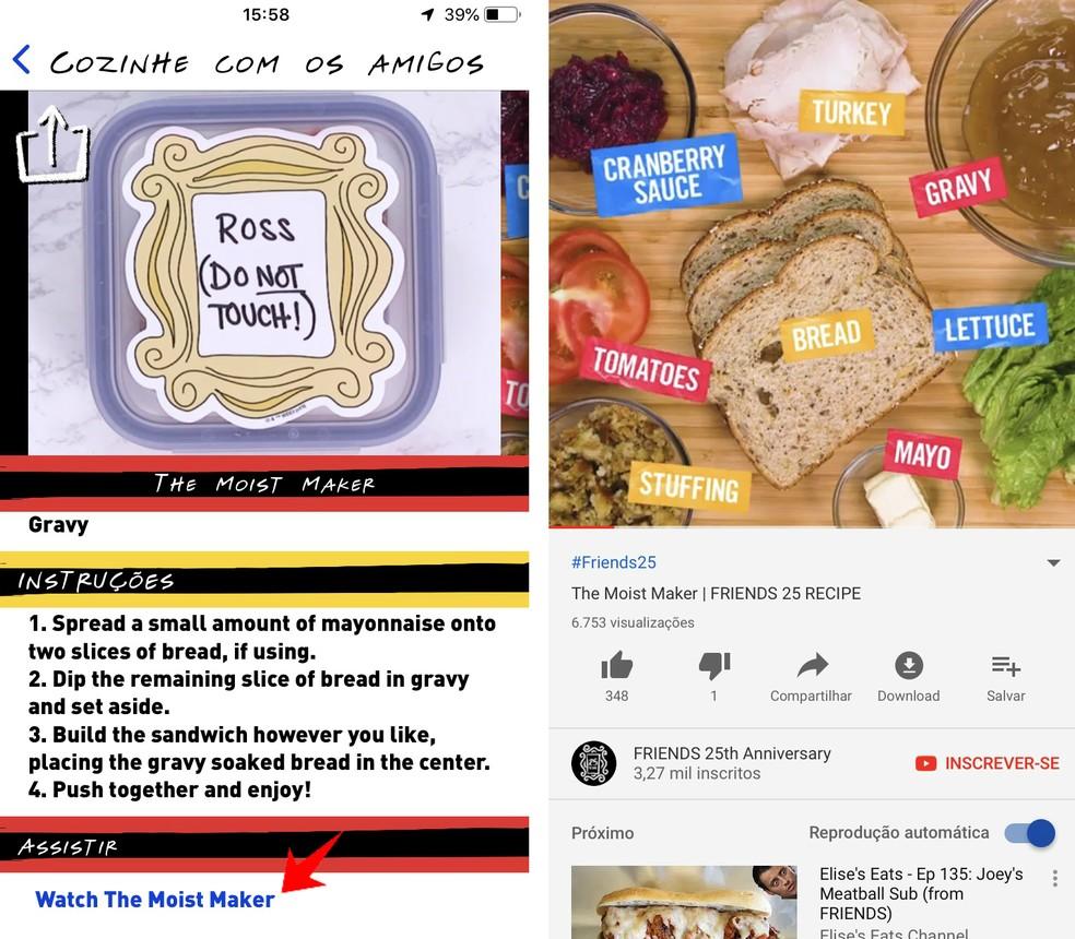 Friends app leads to full-recipe YouTube video Photo: Reproduction / Rodrigo Fernandes