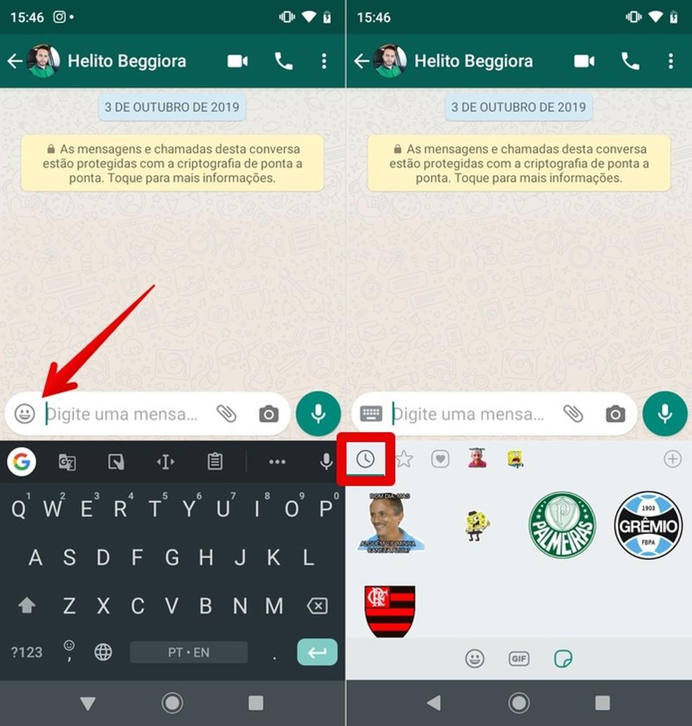 Access WhatsApp's stickers Photo: Reproduction / Helito Beggiora