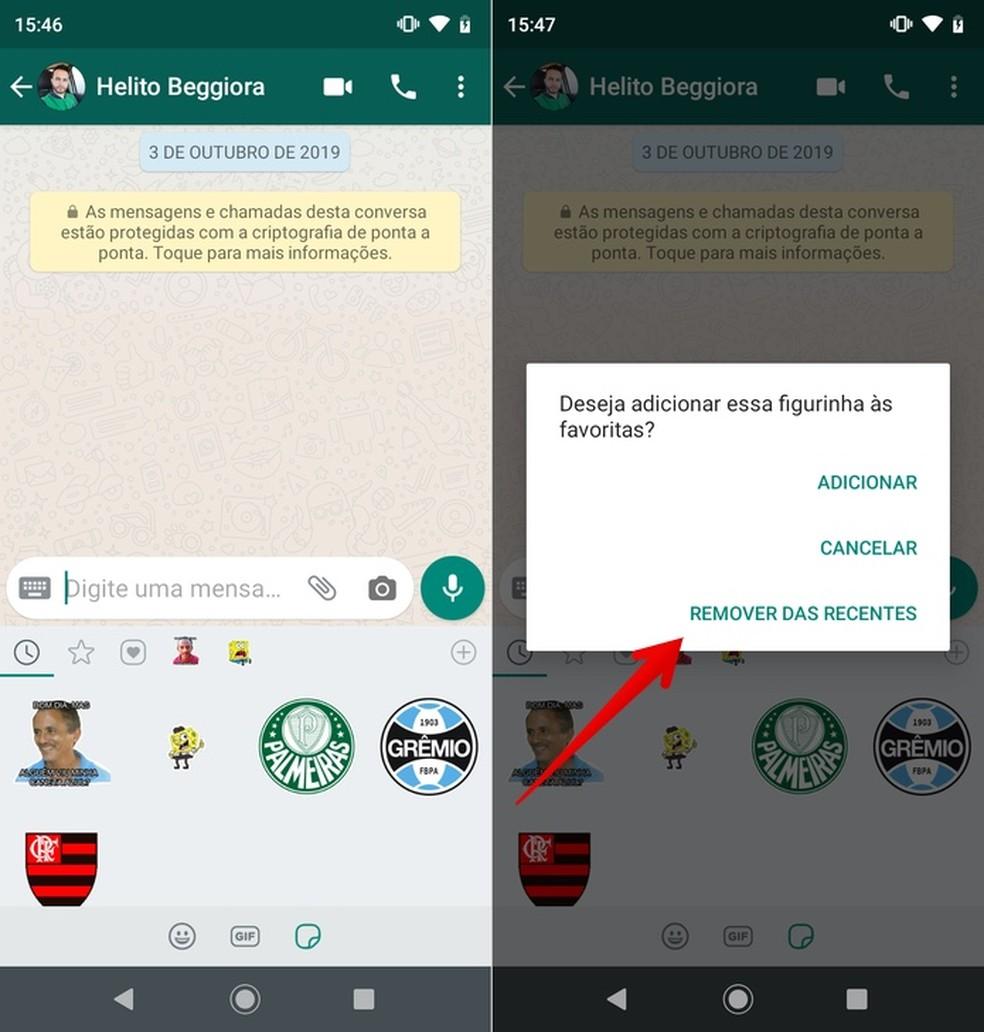Removing WhatsApp History Sticker Photo: Reproduction / Helito Beggiora