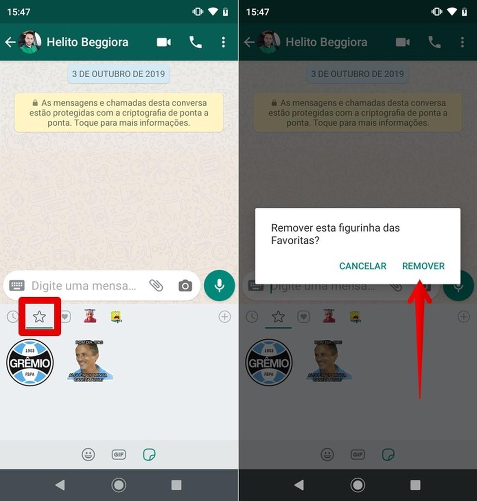 Removing Sticker from WhatsApp Favorites Photo: Reproduo / Helito Beggiora