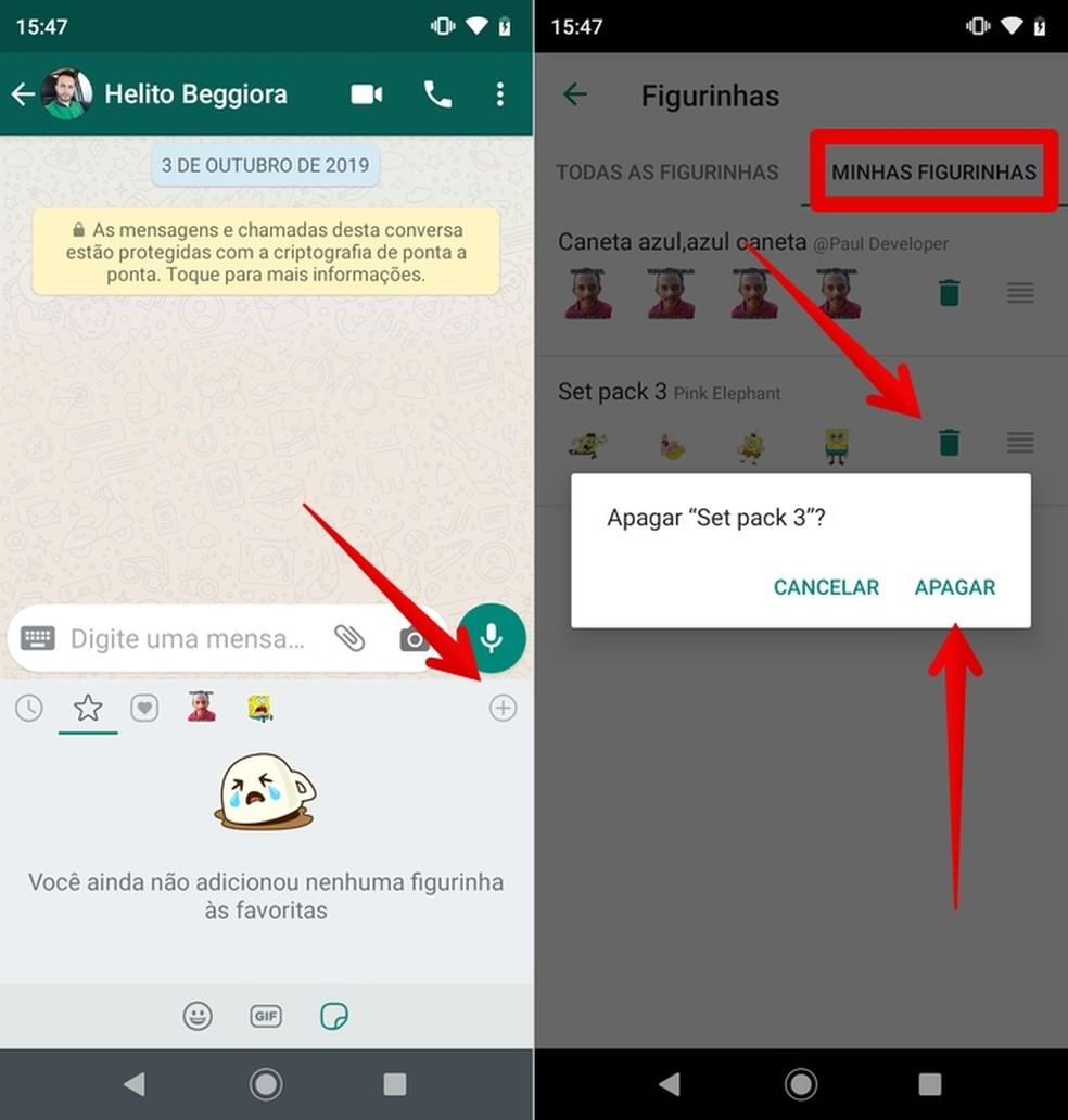Deleting WhatsApp Sticker Pack Photo: Reproduction / Helito Beggiora