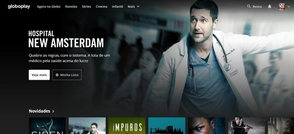 Globoplay interface shows famous shows Photo: Reproduo / Rodrigo Fernandes