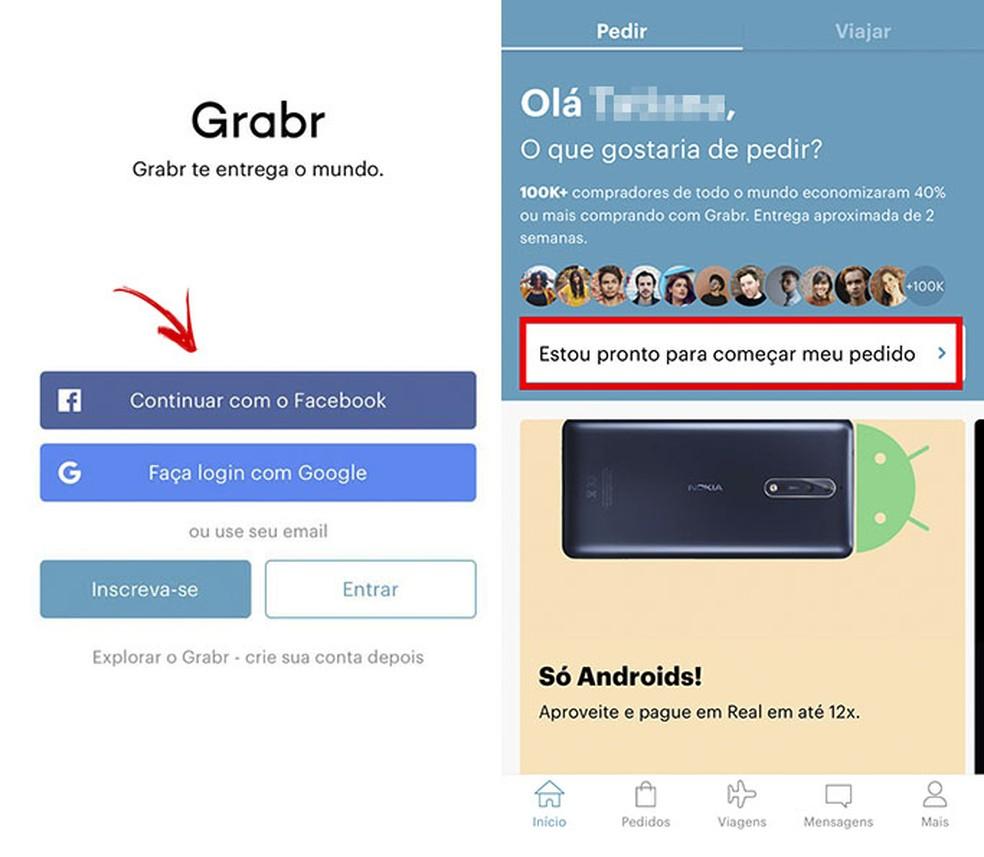 Join Grabr and start your order Photo: Reproduo / Tatiane Mota