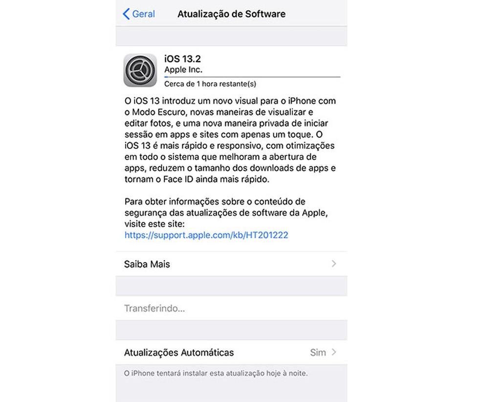 Download time may be longer with major updates Photo: Playback / Tatiane Mota