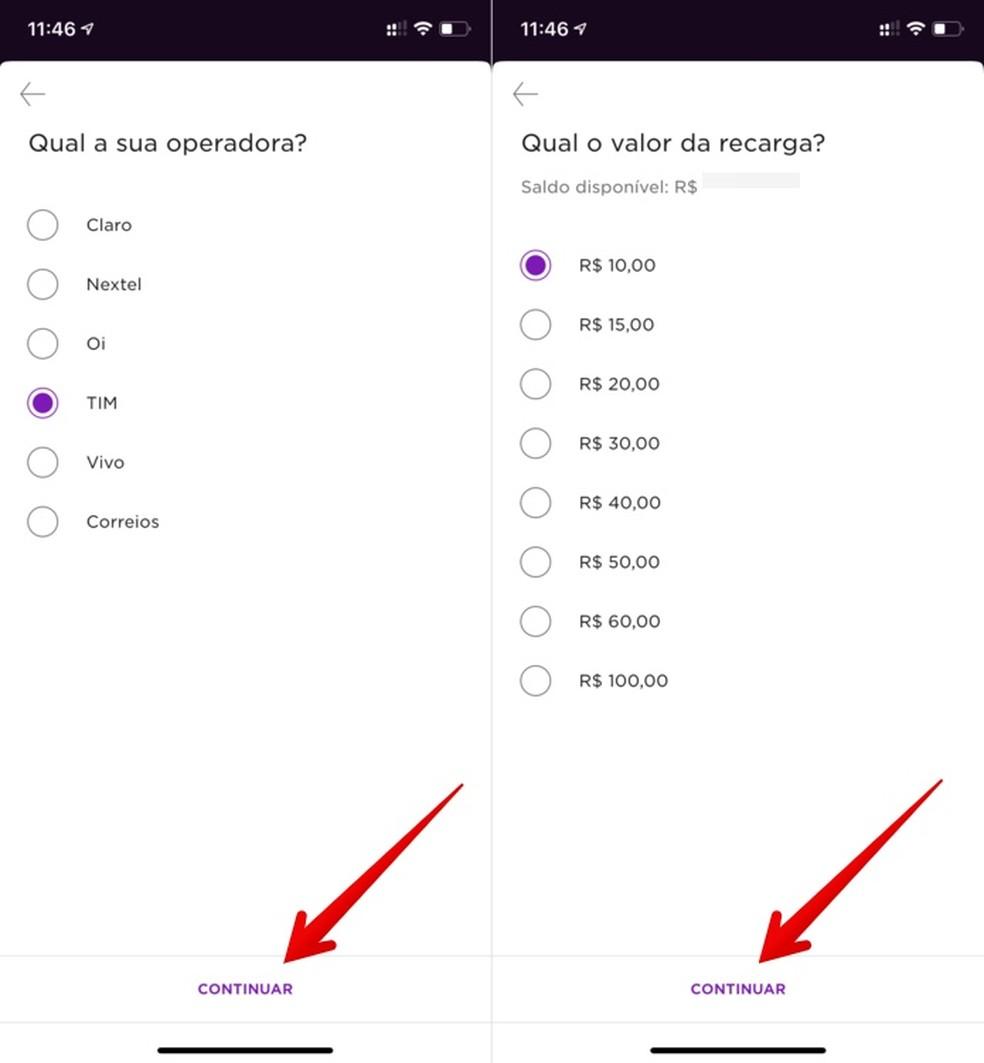 Choose operator and value in Nubank app. Photo: Reproduo / Helito Beggiora