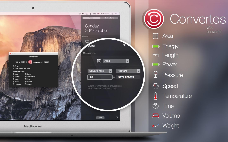 Screenshot of the Convertos app