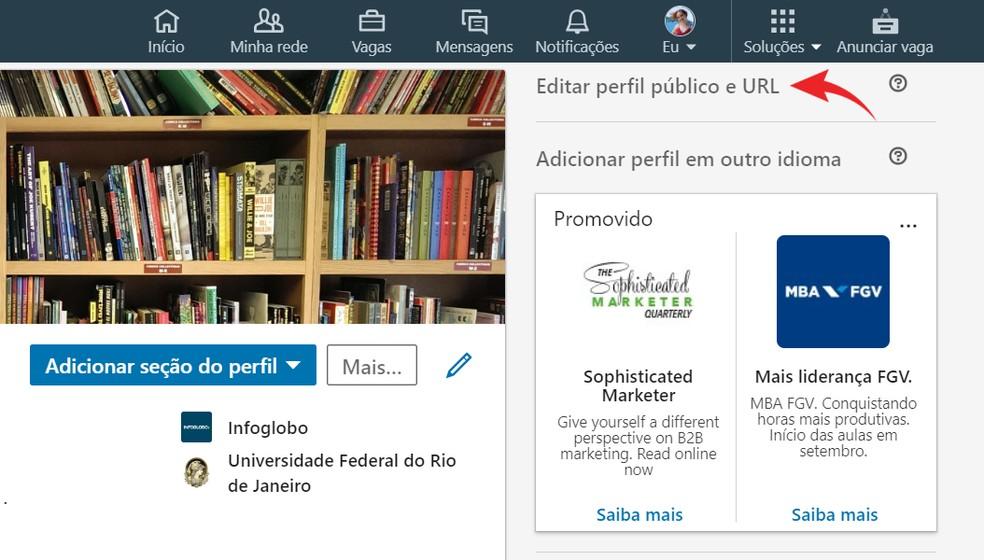Edit the LinkedIn Profile URL Photo: Reproduo / Ana Letcia Loubak