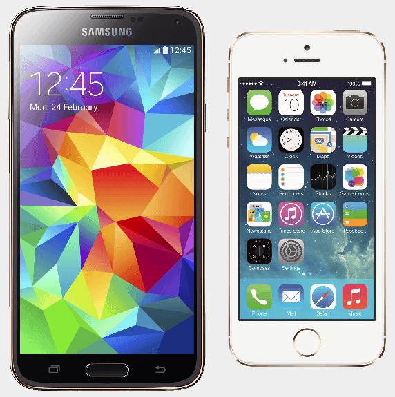 samsung galaxy s5 iphone 5s