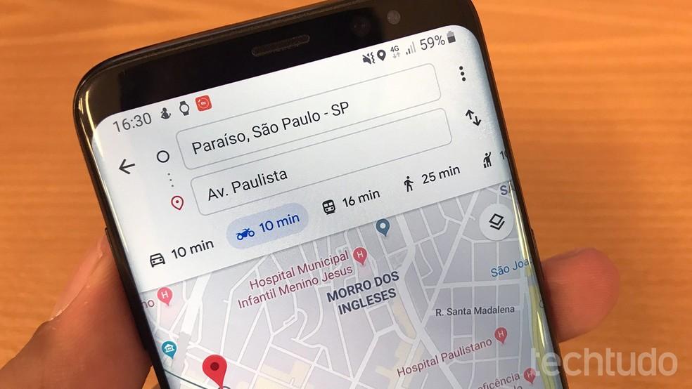 Google Maps wins motorcycle navigation mode Photo: Paulo Alves / TechTudo